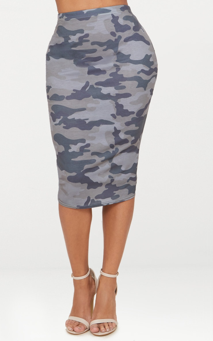 Shape Grey Camo Midi Skirt 2