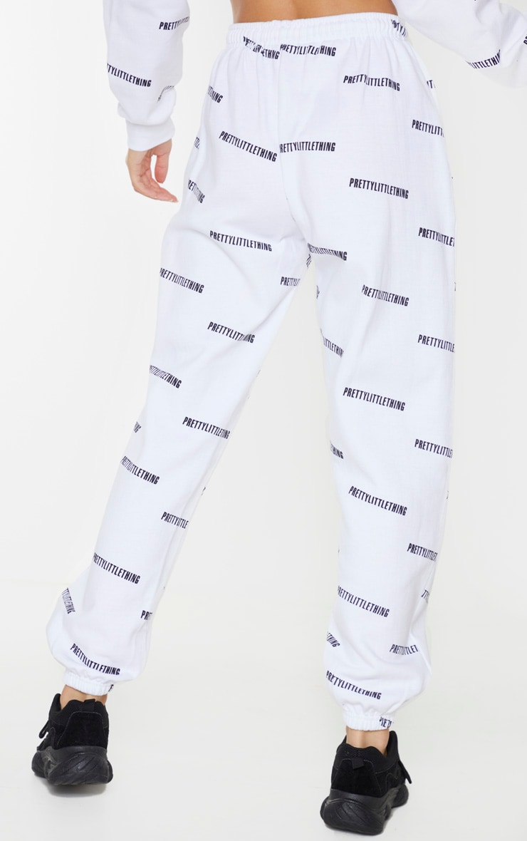 PRETTYLITTLETHING White Printed High Waist Joggers 3