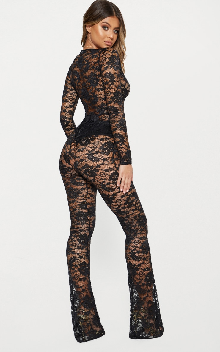 Black Lace Plunge Front Jumpsuit 2