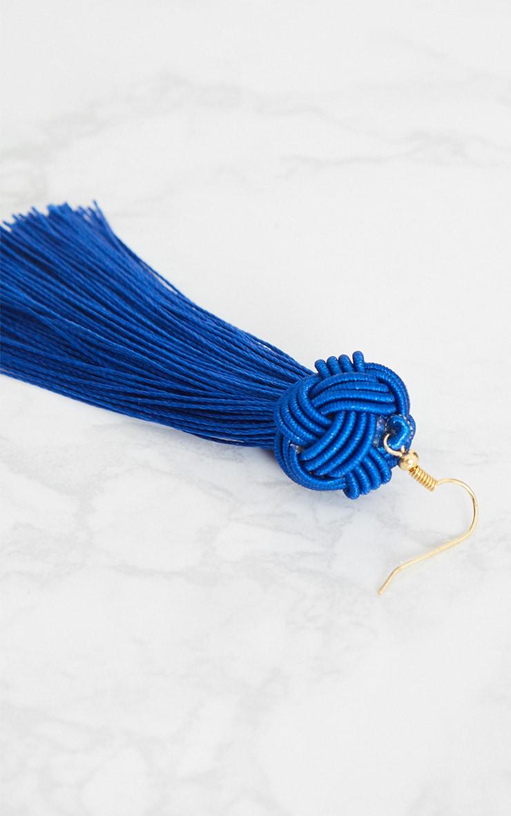 Bright Blue Knotted Tassel Earrings 4