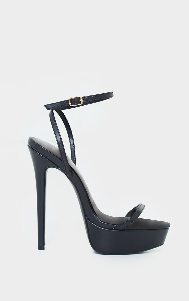 Black PU Platform Strappy High Heels 3