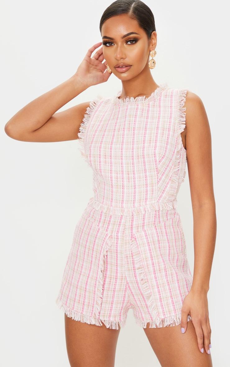 Pink Tweed Pocket Detail Romper 1