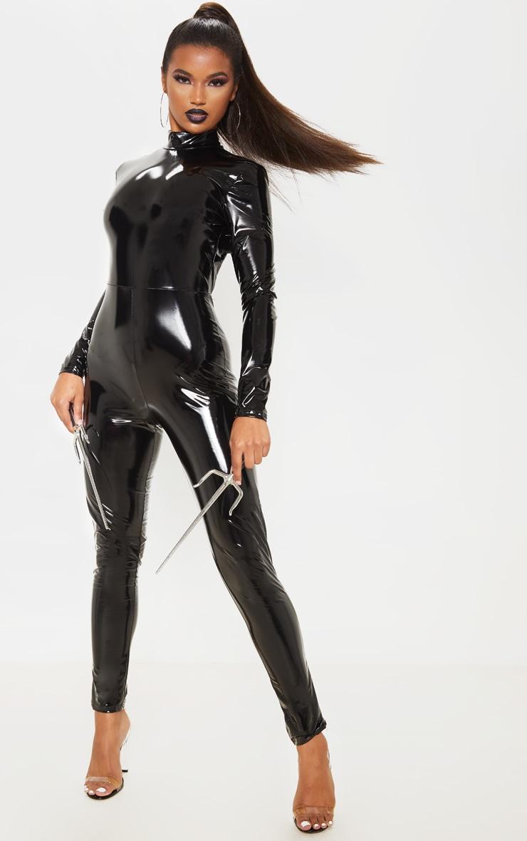 Black Backless Vinyl Long Sleeve Jumpsuit 1