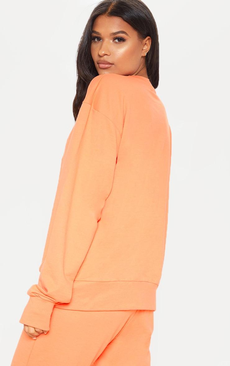PRETTYLITTLETHING Peach Embroidered Oversized Sweatshirt 2