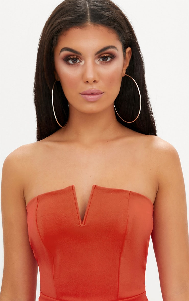 Tomato Red V Plunge Bandeau Bodycon Dress 5