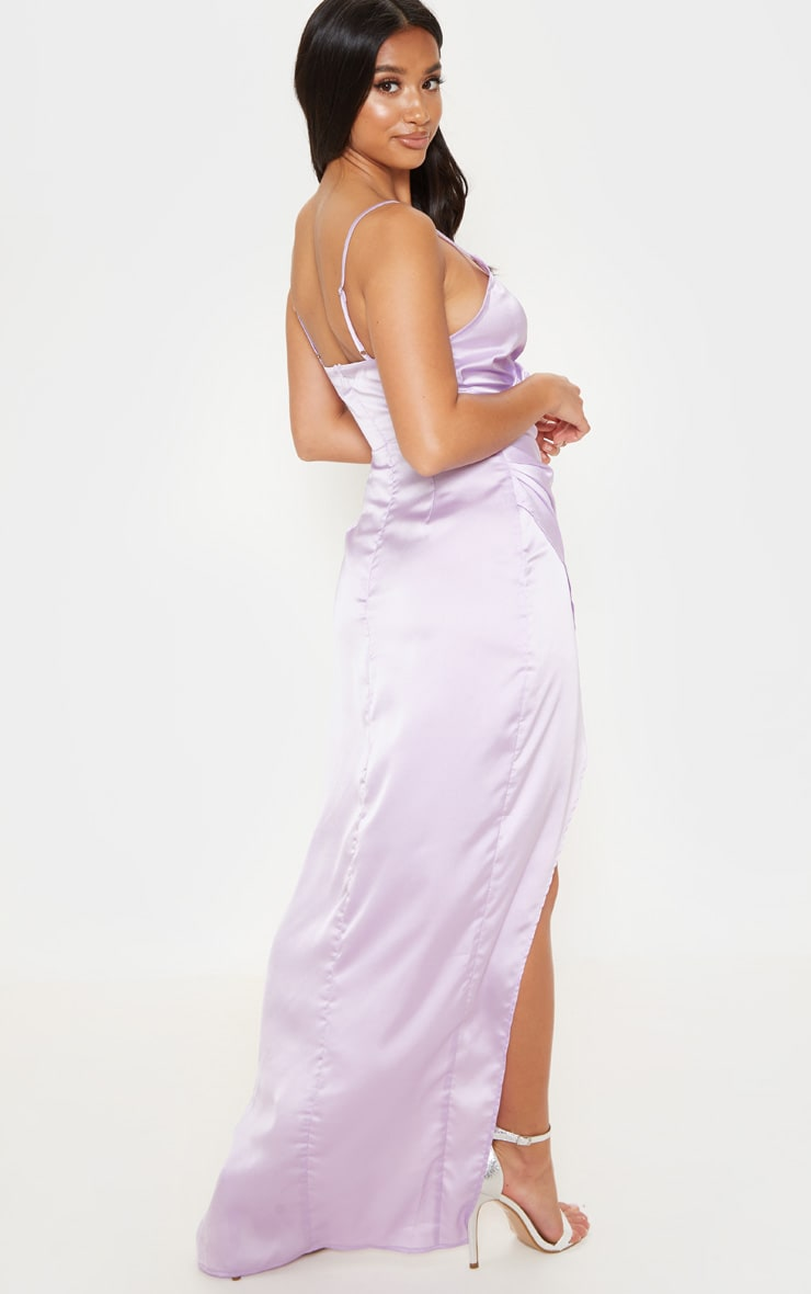 Petite Lilac Satin Wrap Detail Maxi Dress 2