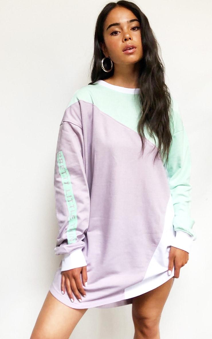 Lilac Asymmetric Colour Block Sweater Dress 3