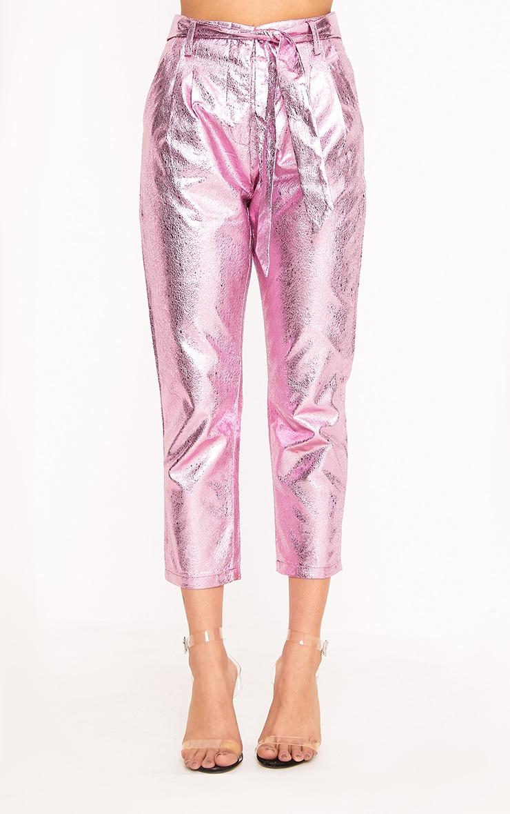 Leanne Pink Tie Waist Crack Vinyl Crop Trousers  2