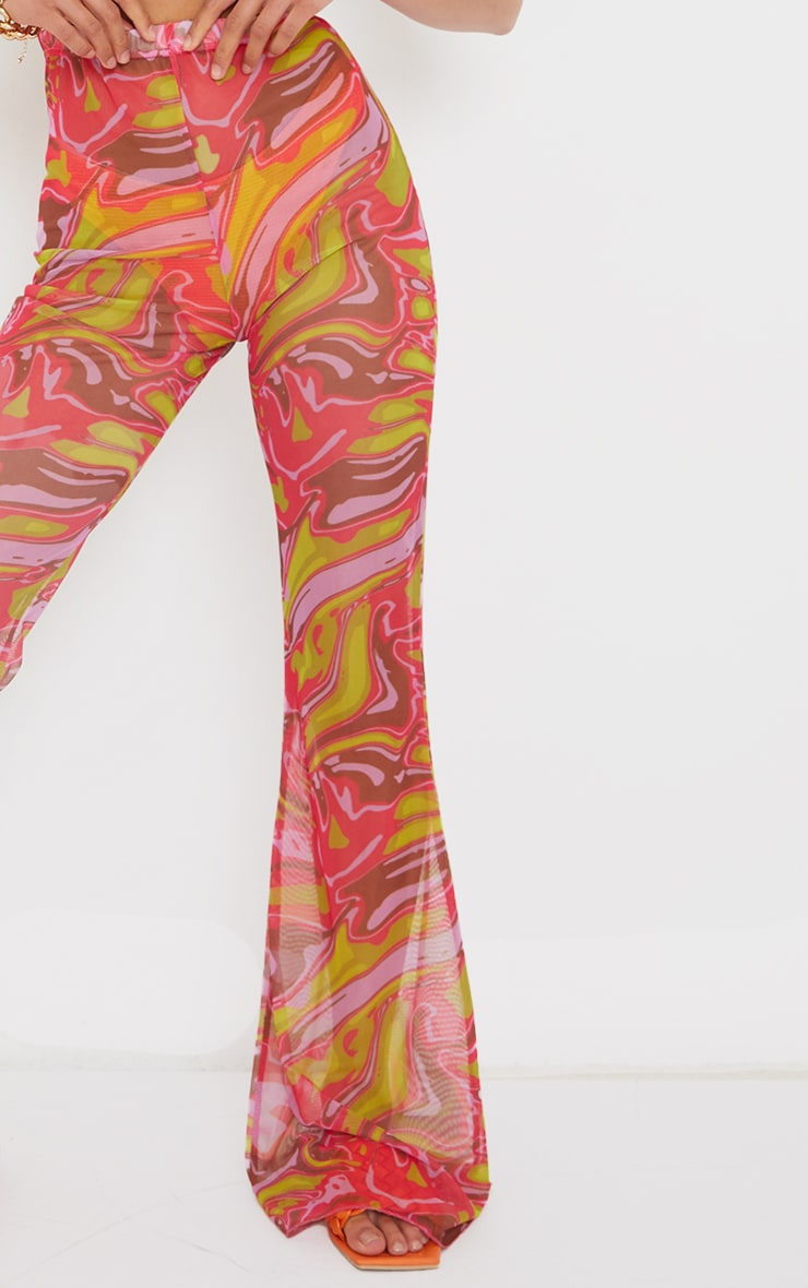 Petite Pink  Abstract Print Mesh High Waisted Flares 4