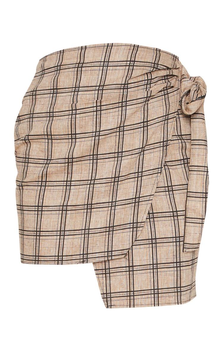 Stone Check Wrap Tie Skirt 3