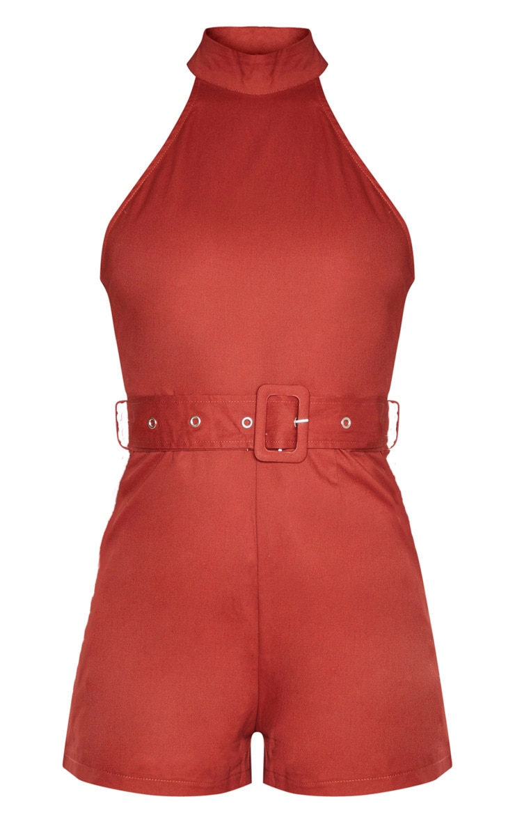 Terracotta High Neck Belted Playsuit 3