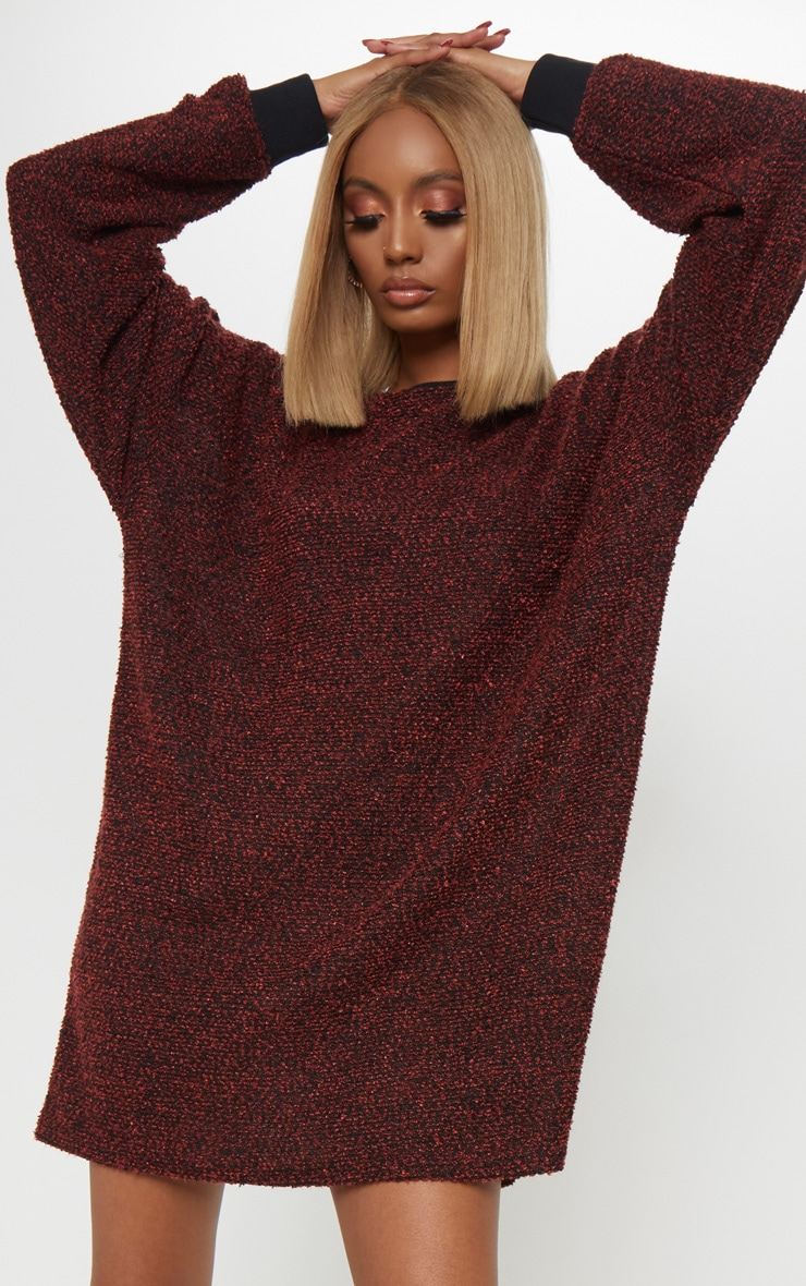 5741b2f3a7922 Red Boucle Knit Jumper Dress image 1