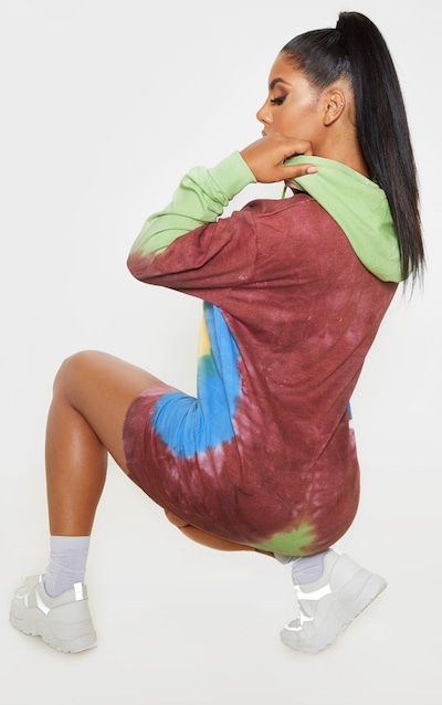 Multi Tie Dye Oversized Hoodie Dress