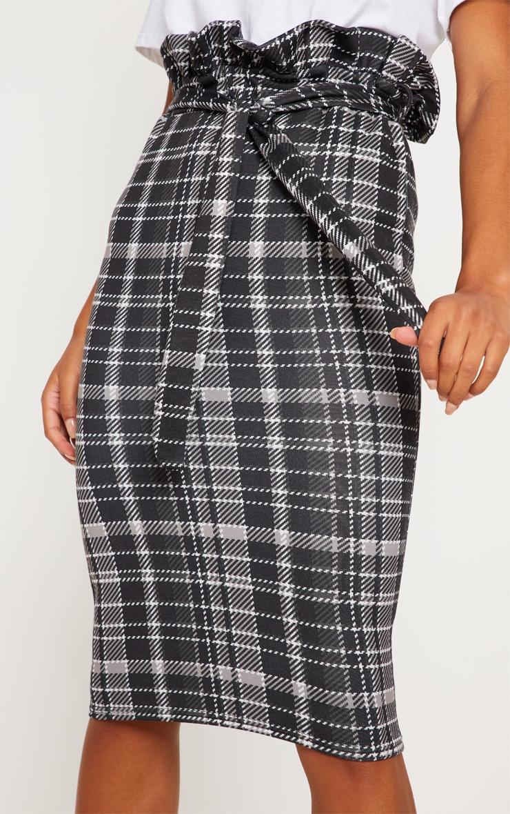 Black Check Paperbag Midi Skirt 5