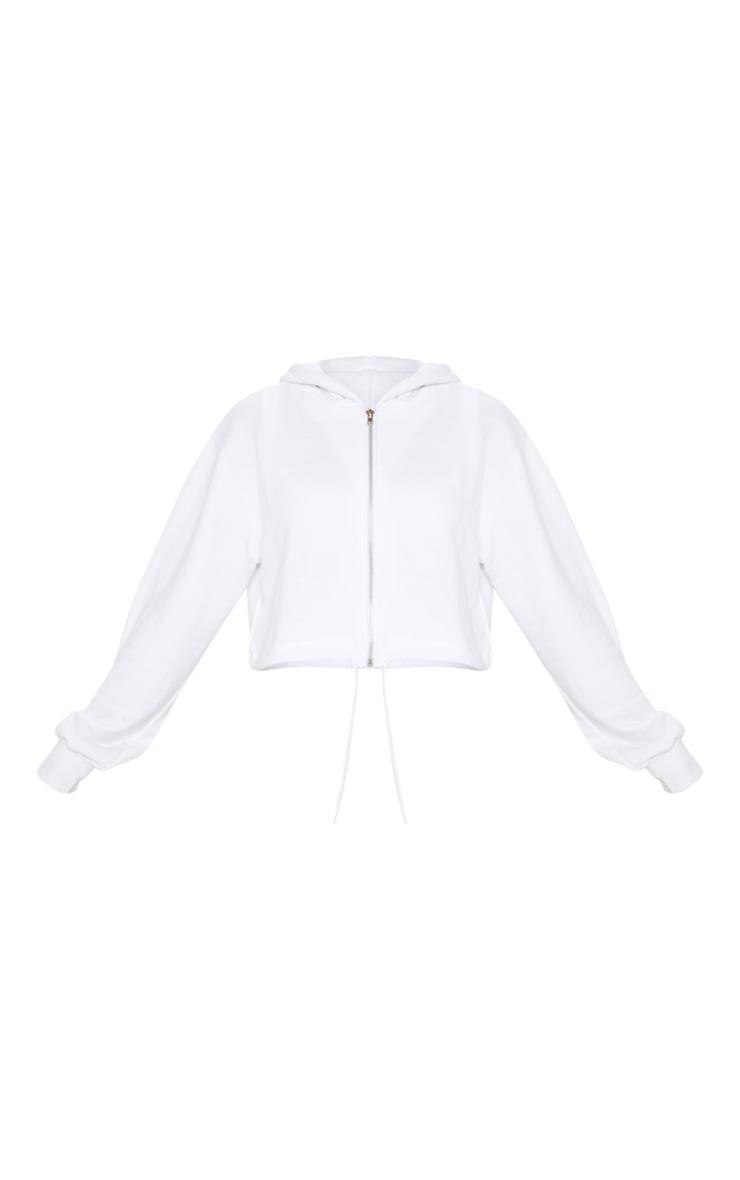White Zip Front Drawstring Hoodie 3
