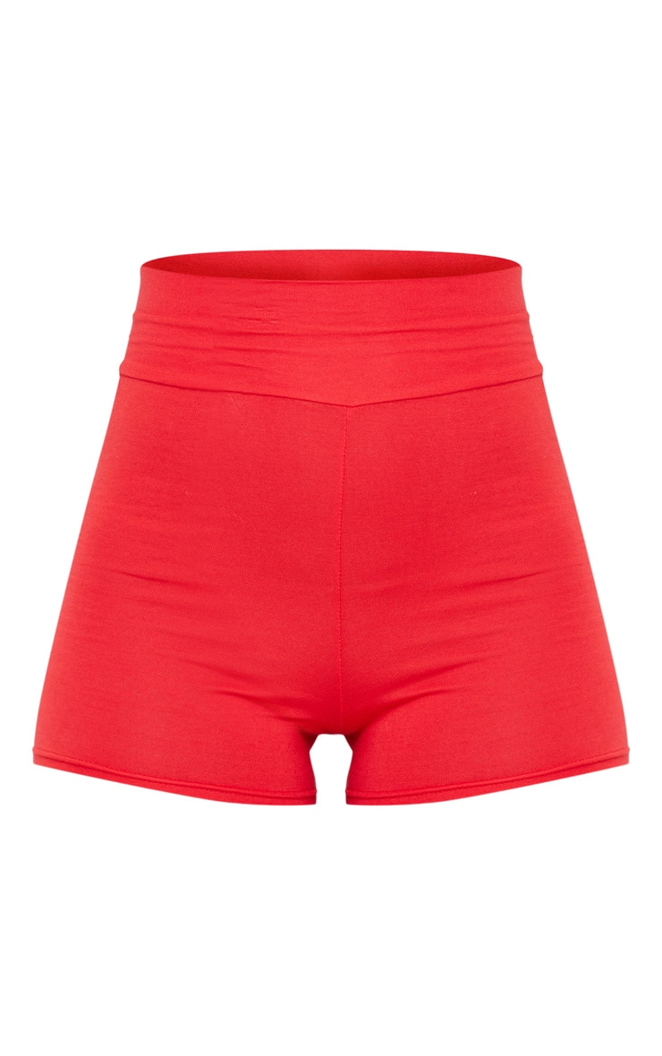 Red Basic High Waisted Shorts 3