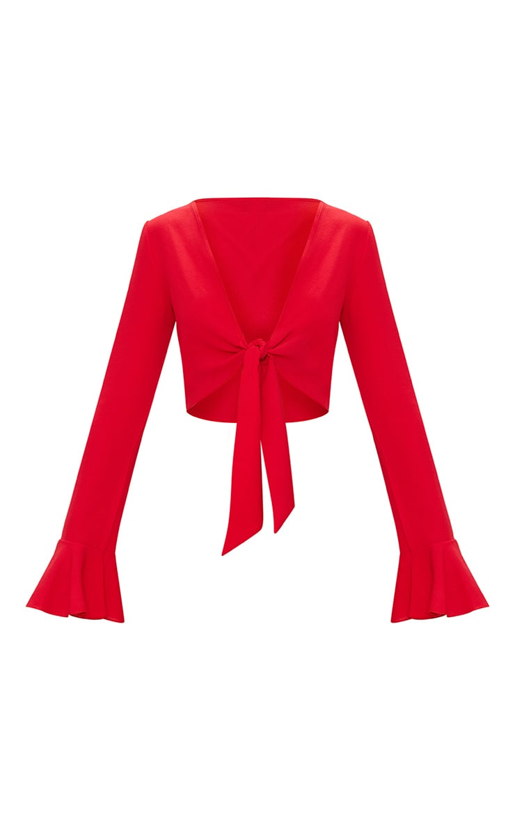 Red Tie Front Frill Sleeve Blouse  3