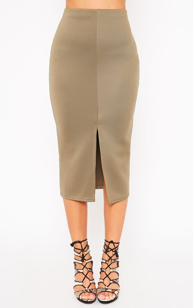 Siva Khaki Split Front Scuba Midi Skirt 2