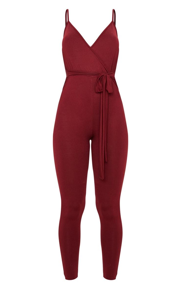 Burgundy Jersey Strappy Wrap Tie Waist Jumpsuit 3
