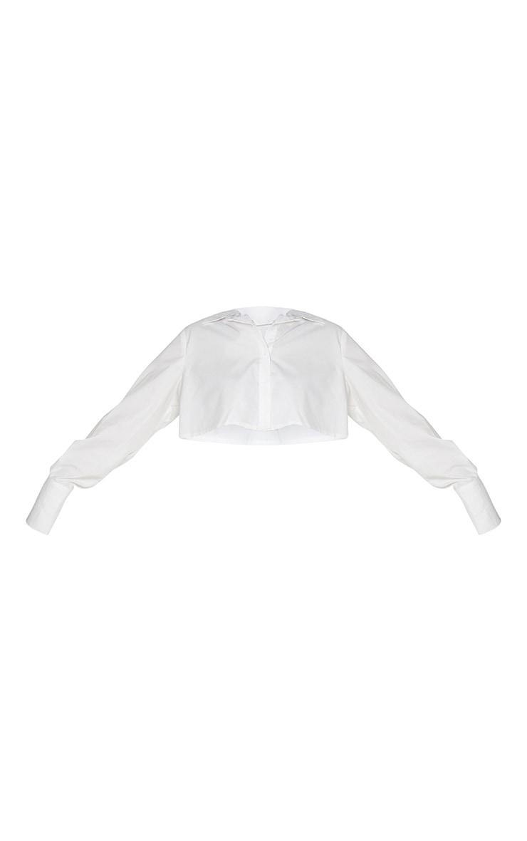 White Cotton Oversized Crop Shirt 5