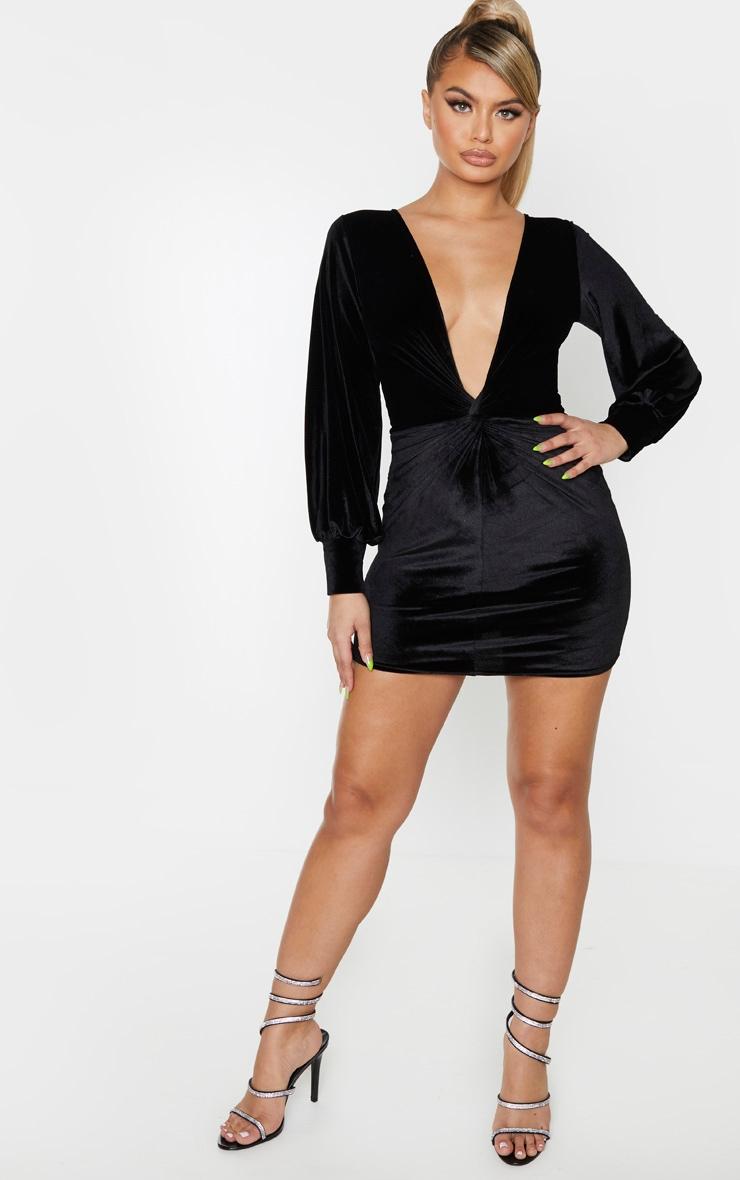 Black Velvet Long Sleeve Plunge Knot Detail Bodycon Dress 4