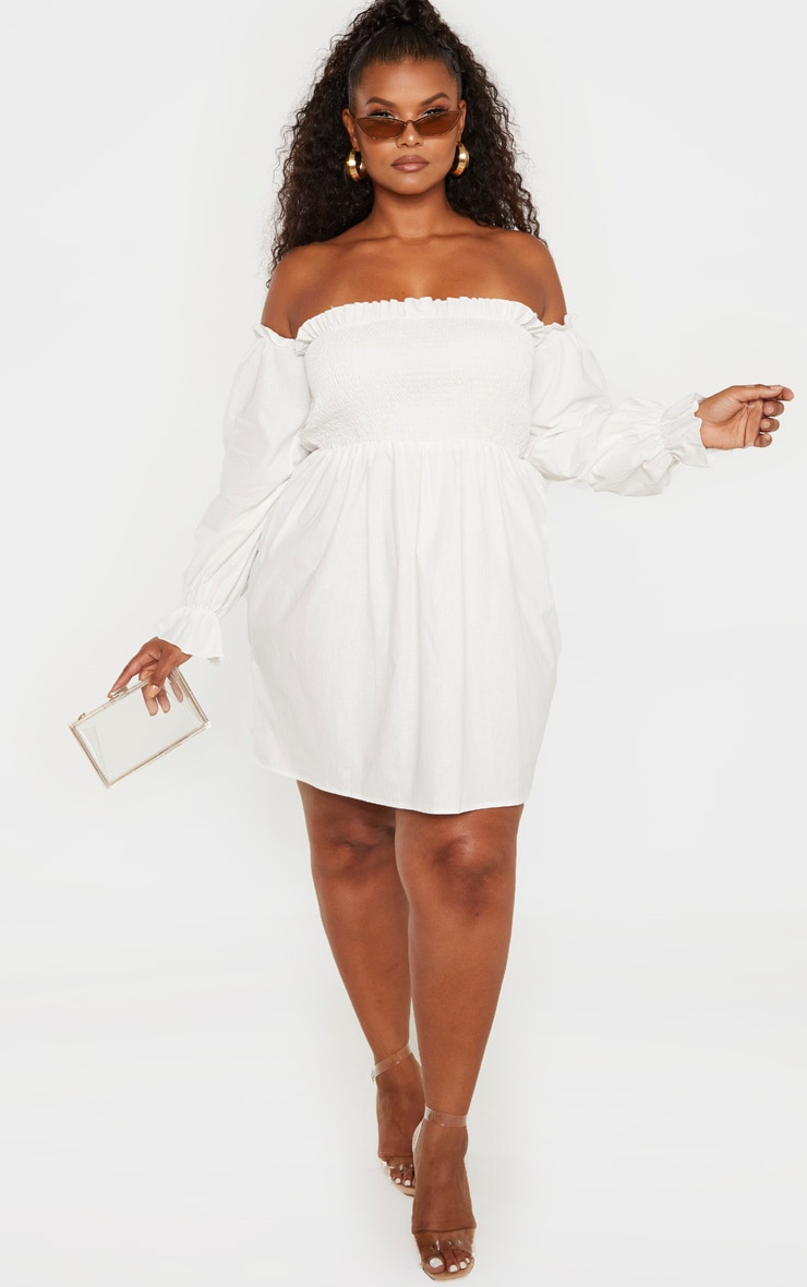 Plus White Shirred Bardot Long Sleeve Dress 3