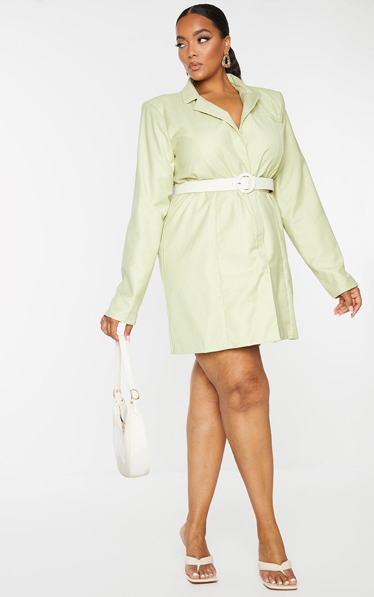 Plus Sage Green Oversized Blazer Dress 1
