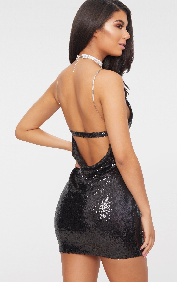 Black Chain Strap Sequin Plunge Bodycon Dress 1