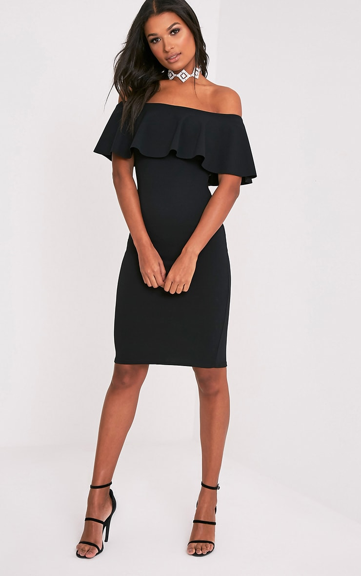 Celinea Black Bardot Frill Midi Dress 1