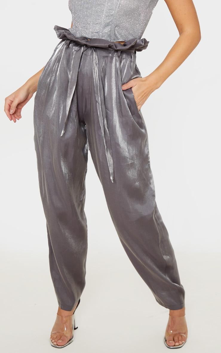 Grey Shimmer Paper Bag Balloon Leg Pants 2