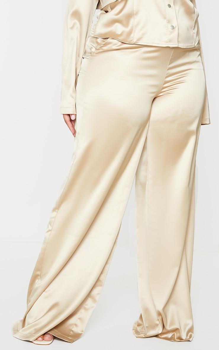 Plus Champagne Wide Leg Satin Trousers 2