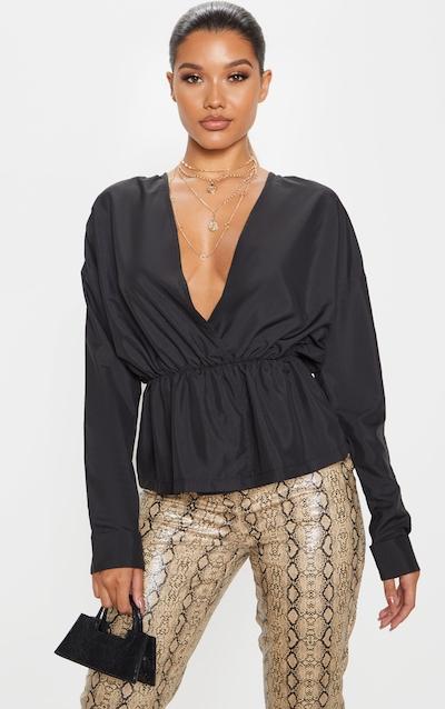 Black Woven Wrap Front Blouse