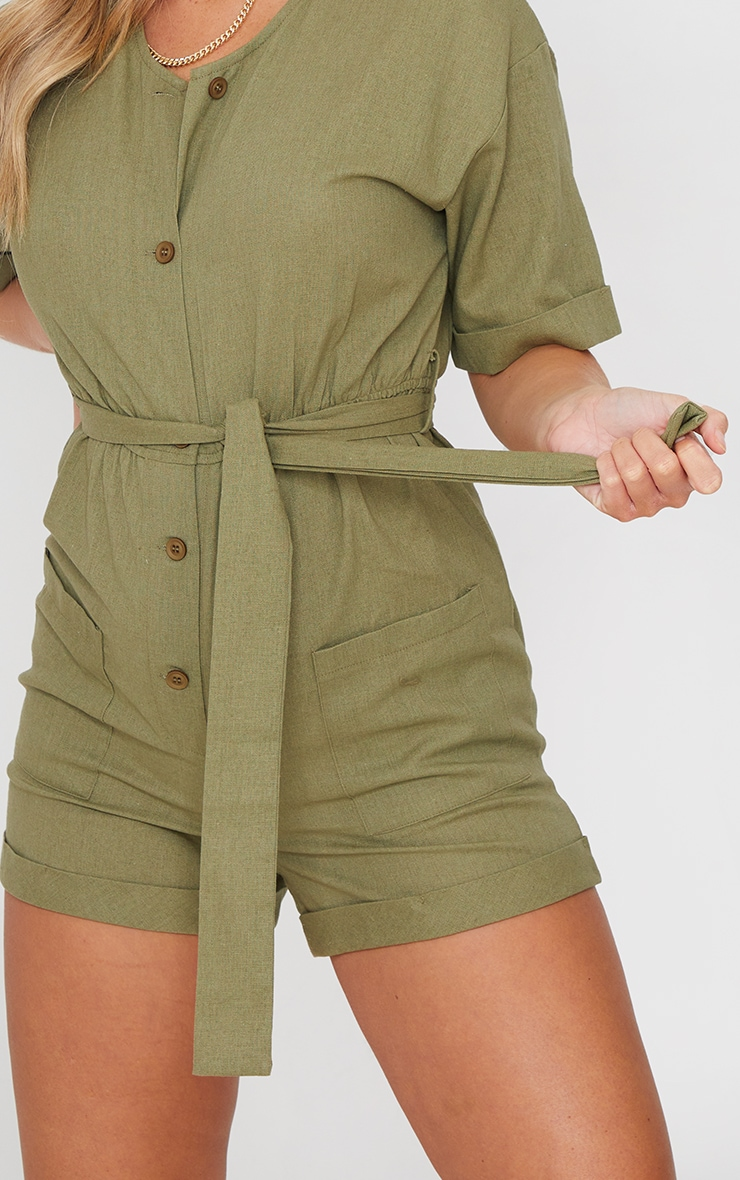 Khaki Linen Look Short Sleeve V Neck Shirt Playsuit 4