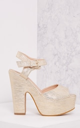 b287a4a86bf5 Edlyn Gold Metallic Chunky Heels - High Heels - PrettylittleThing ...