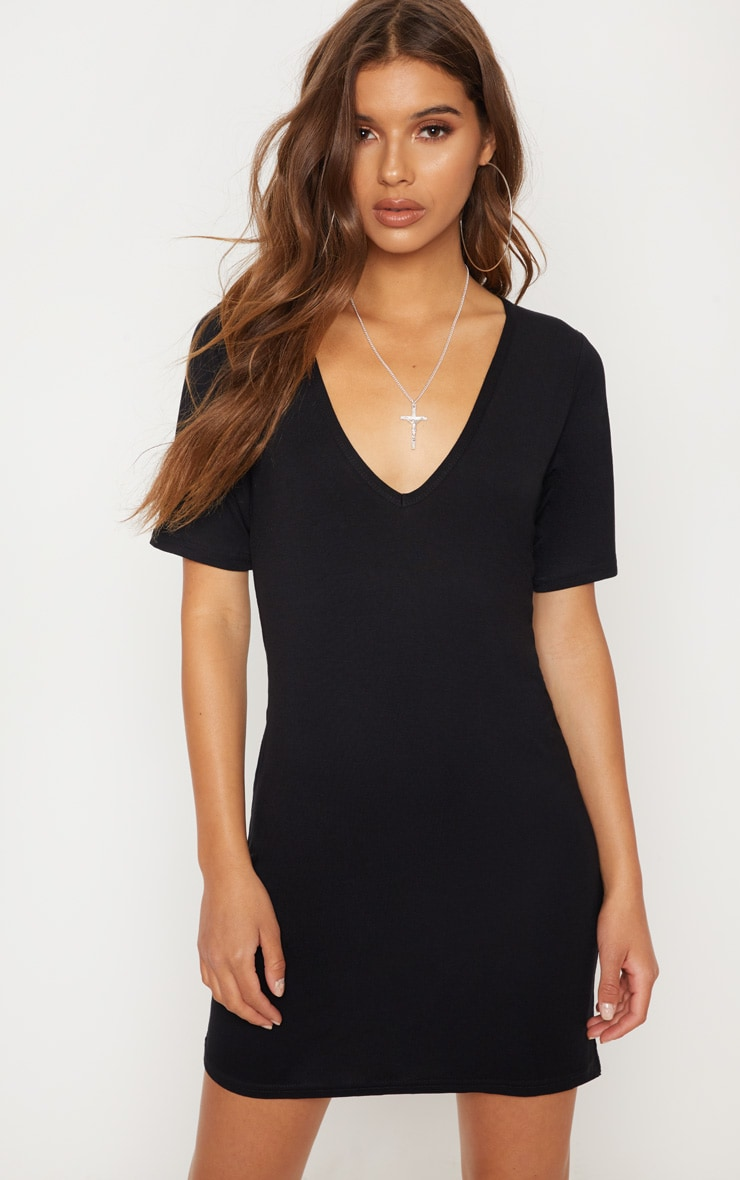 Basic Black Plunge V Neck T Shirt Dress 2