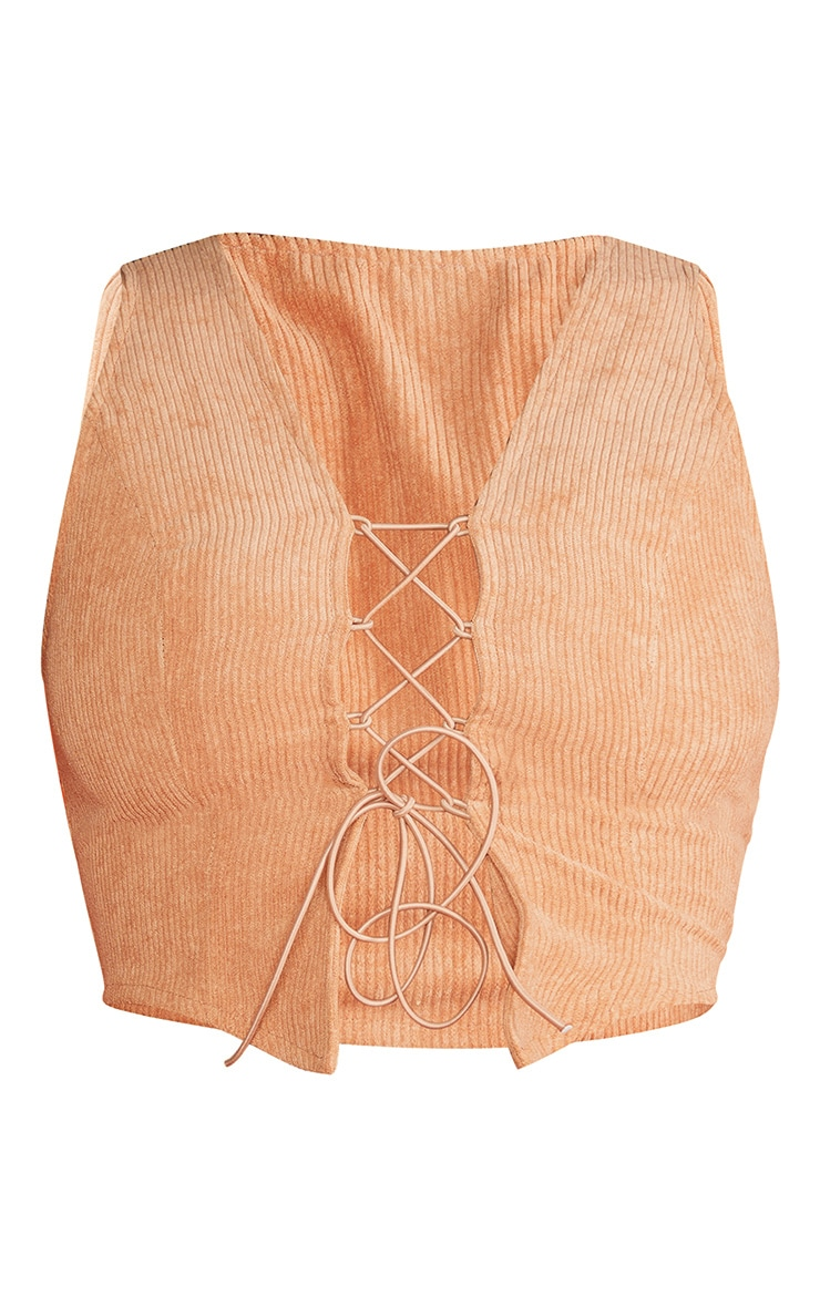 Sand Cord Lace Up Crop Top 5