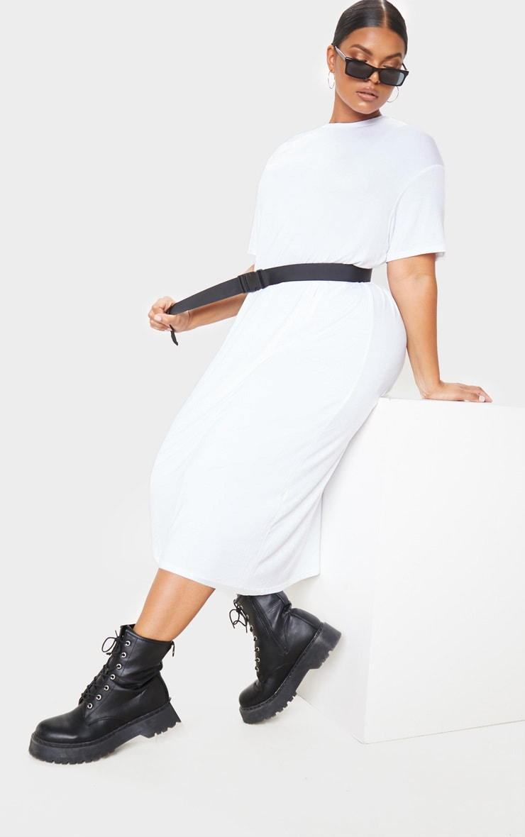 Plus White Oversized Boxy Midi T Shirt Dress 4