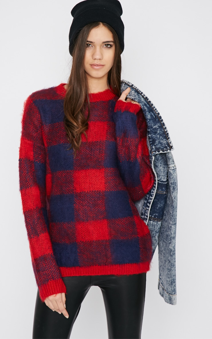 Poppy Red Checked Fluffy Sweater  1