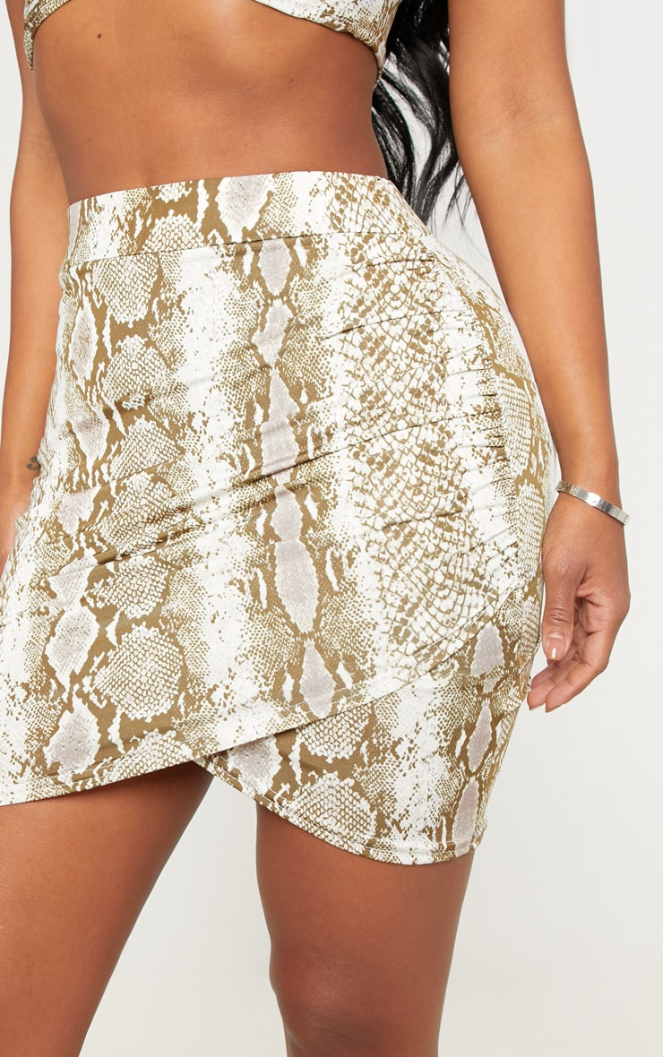 Shape Taupe Snake Print Ruched Side Split Bodycon Skirt  6