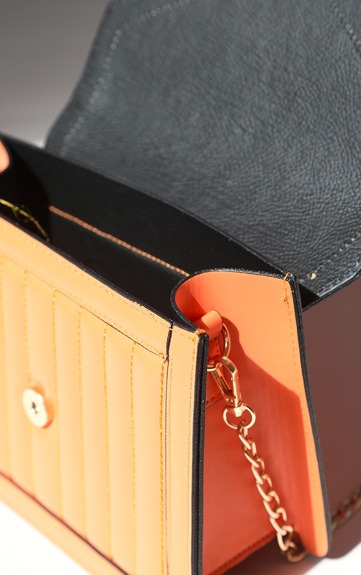 Orange Vertical Quilted Cross Body Bag 3
