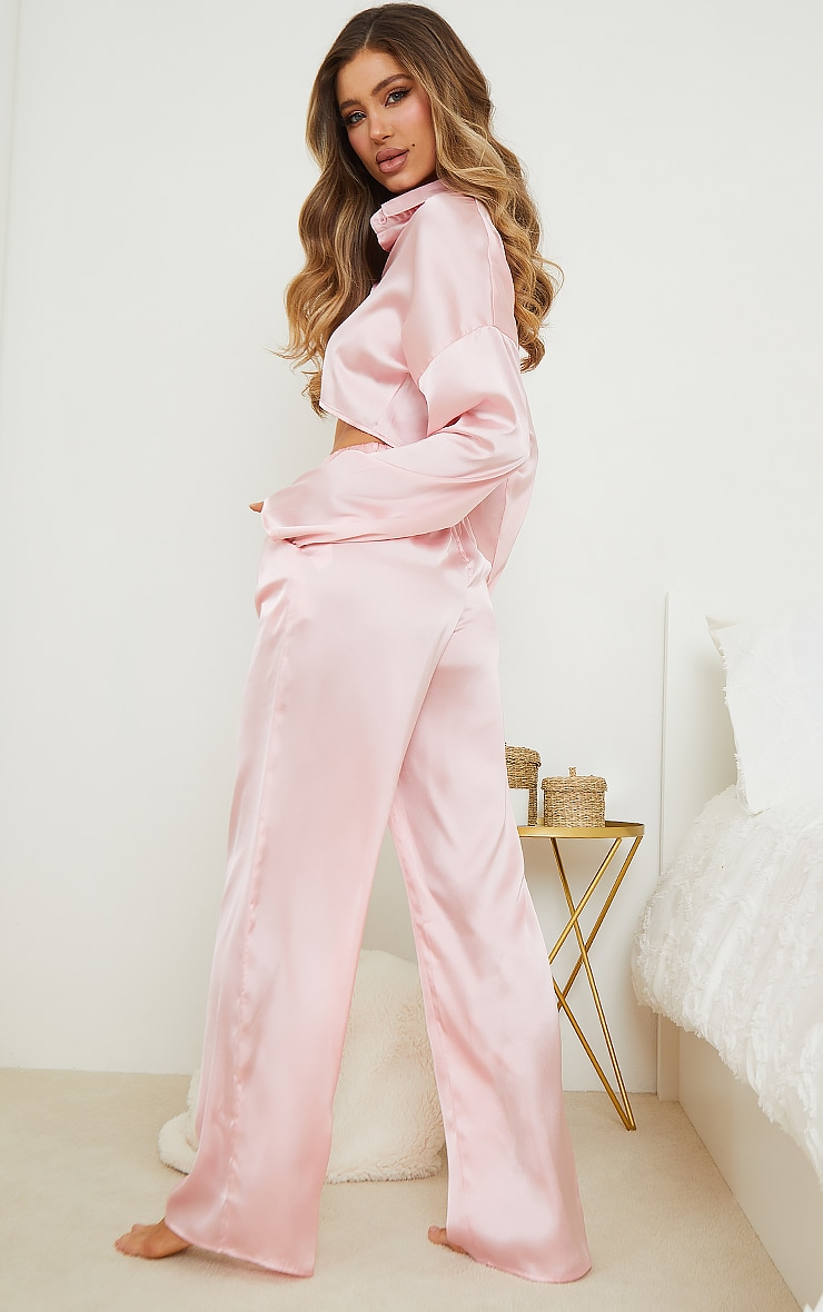 Pink Satin Cropped Shirt And Wide Leg Trousers PJ Set 2