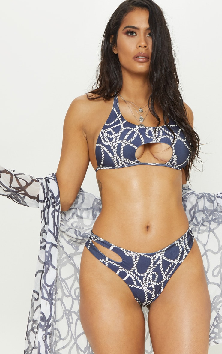 Navy Rope Print Cut Out Tie Bikini Top 1
