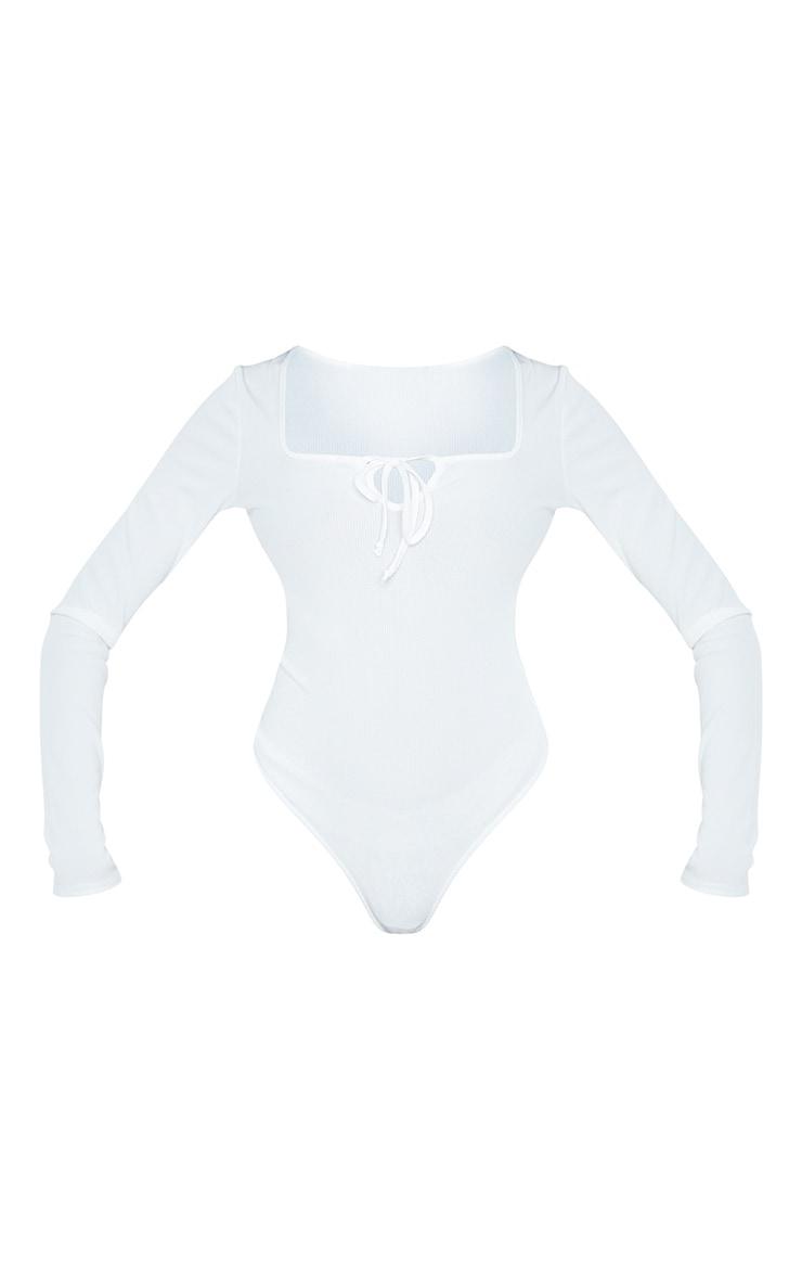Tall White Ribbed Milkmaid Long Sleeve Bodysuit 5