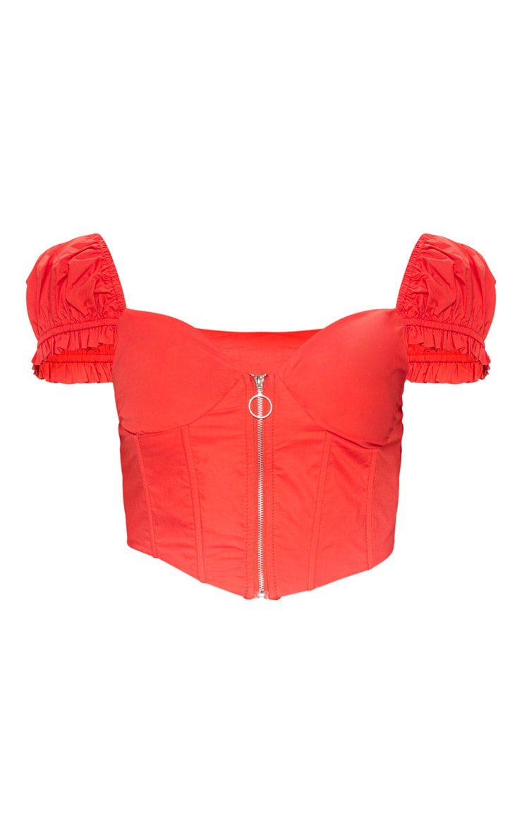 Red Zip Front Puff Sleeve Top 3