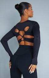 Black Sculpt Long Sleeve Lace Up Back Sport Top 1