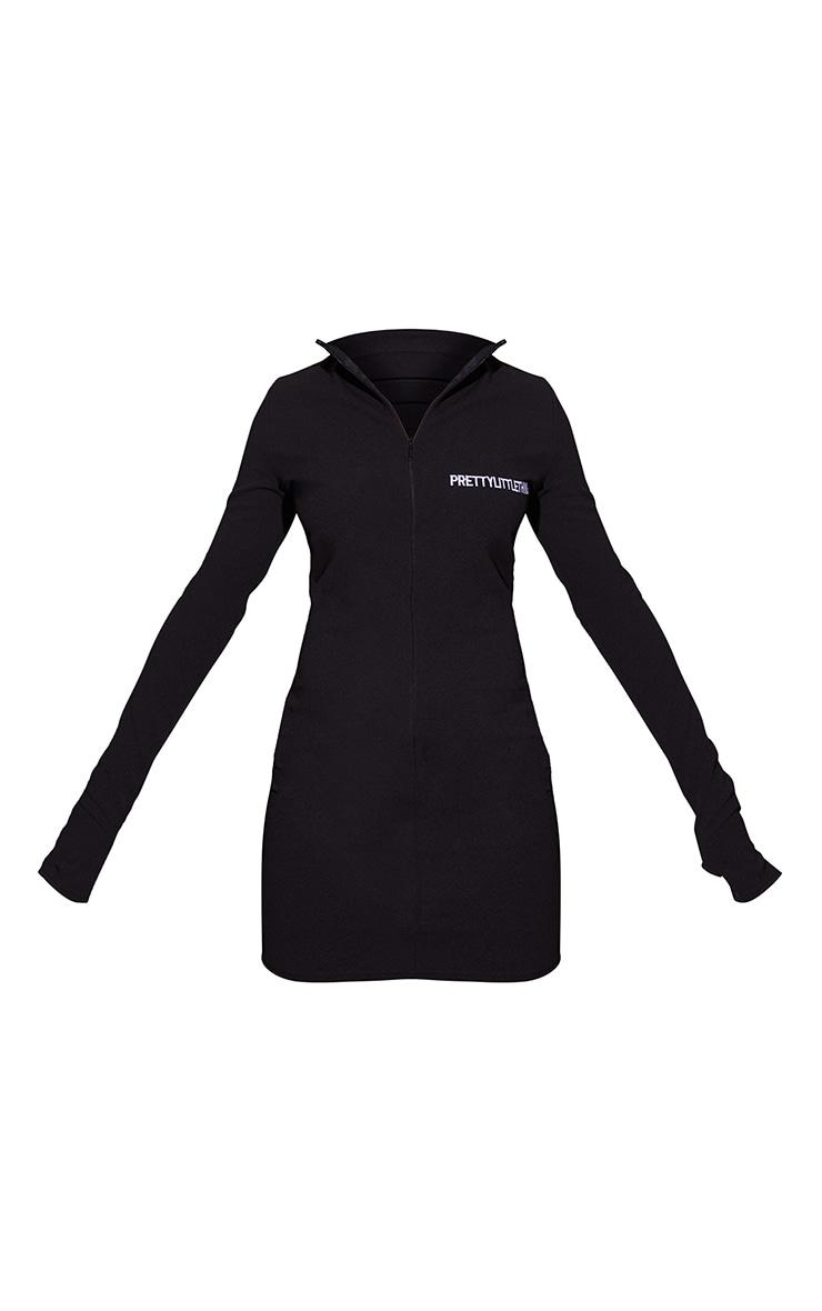 PRETTYLITTLETHING Black Contrast Zip High Neck Bodycon Dress 5