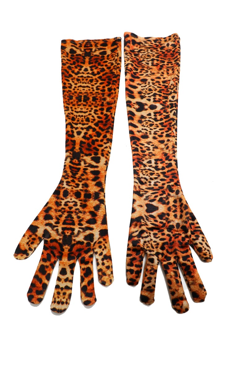 Leopard Velvet Long Gloves 3