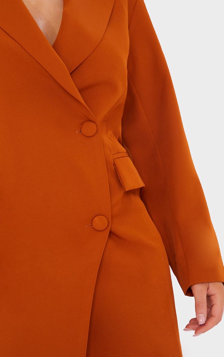 Rust Asymmetric Detail Shoulder Pad Blazer Dress 4