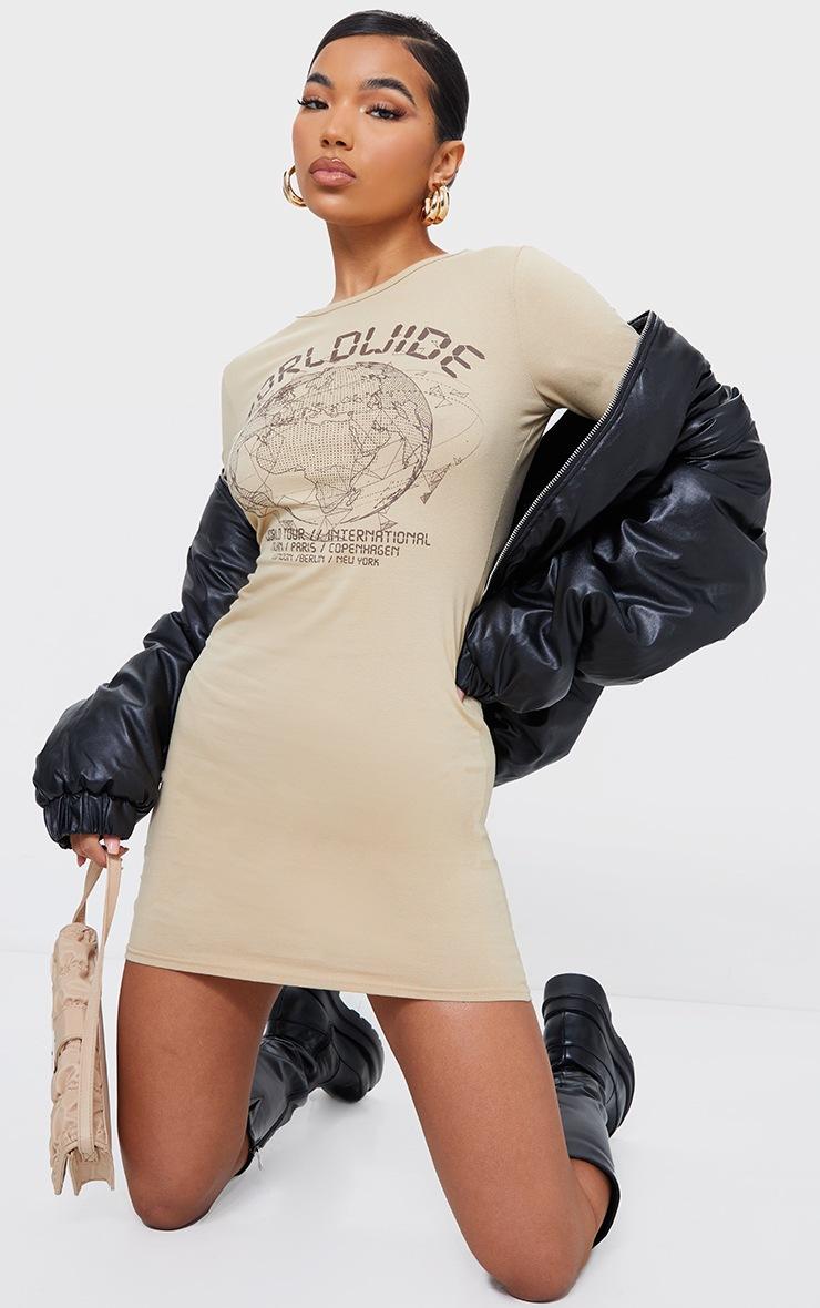 Stone Worldwide Printed Long Sleeve Thumb Hole Bodycon Dress 3