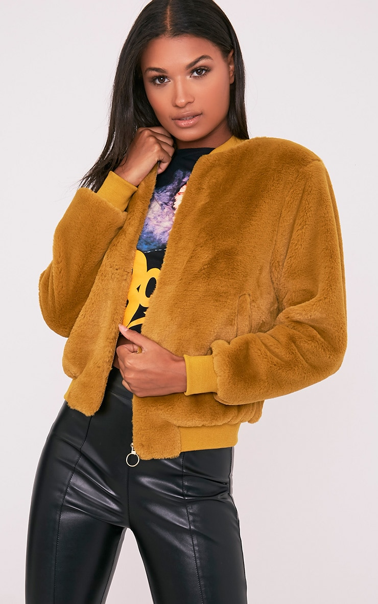 Jessenia Dark Lime Soft Faux Fur Bomber Jacket 1